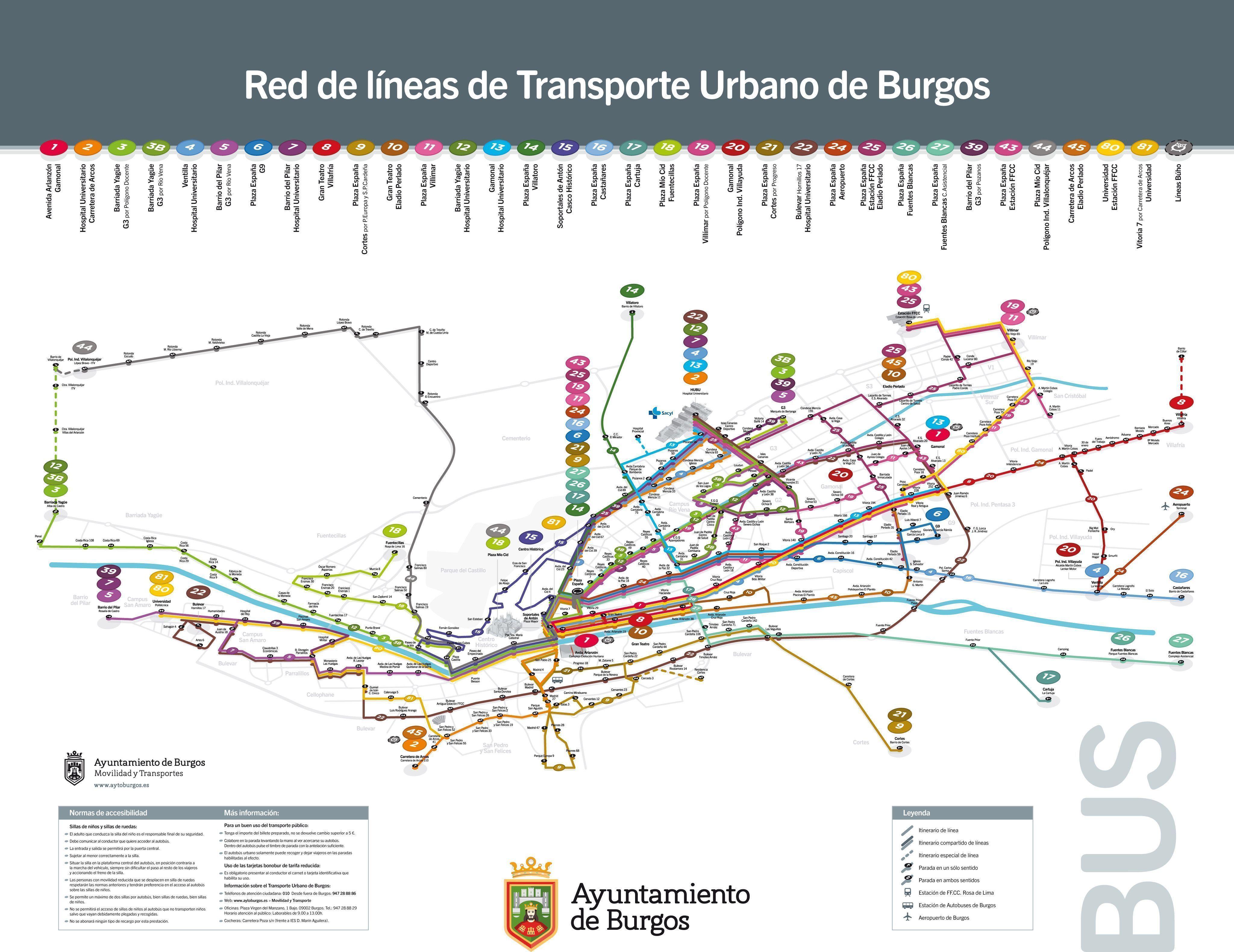 Líneas de autobuses urbanos de Burgos capital